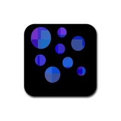 Blue circles  Rubber Coaster (Square)