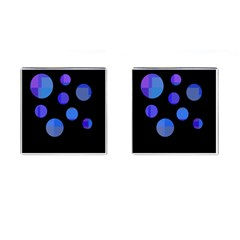 Blue circles  Cufflinks (Square)
