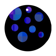Blue circles  Round Ornament (Two Sides)