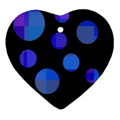 Blue circles  Heart Ornament (2 Sides)