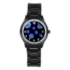 Blue circles  Stainless Steel Round Watch
