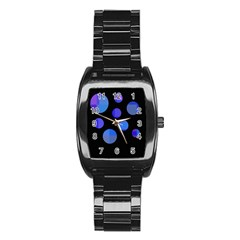 Blue circles  Stainless Steel Barrel Watch