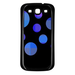 Blue circles  Samsung Galaxy S3 Back Case (Black)