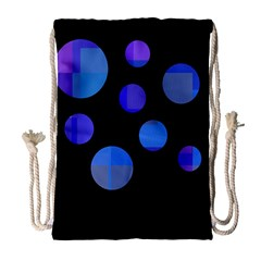 Blue circles  Drawstring Bag (Large)