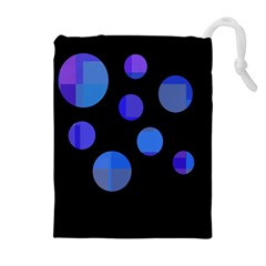 Blue Circles  Drawstring Pouches (extra Large)