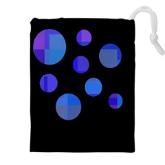 Blue circles  Drawstring Pouches (XXL)