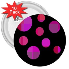 Pink abstraction 3  Buttons (10 pack)