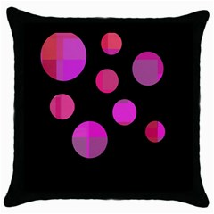 Pink abstraction Throw Pillow Case (Black)