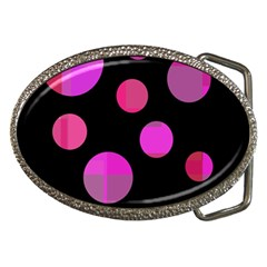Pink abstraction Belt Buckles