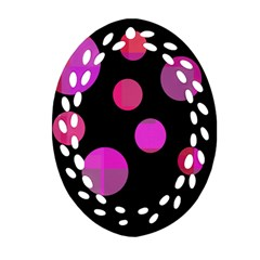 Pink abstraction Oval Filigree Ornament (2-Side)
