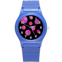 Pink abstraction Round Plastic Sport Watch (S)