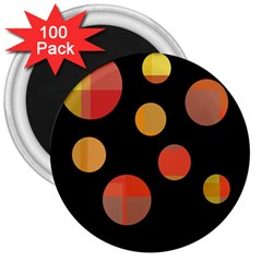 Orange abstraction 3  Magnets (100 pack)