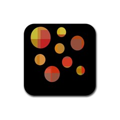 Orange abstraction Rubber Square Coaster (4 pack)