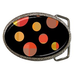 Orange abstraction Belt Buckles