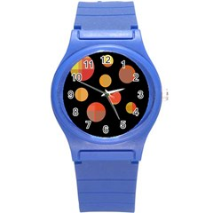 Orange abstraction Round Plastic Sport Watch (S)