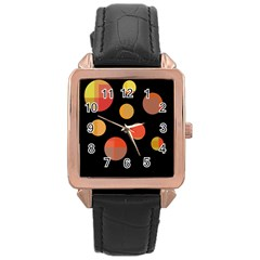 Orange abstraction Rose Gold Leather Watch