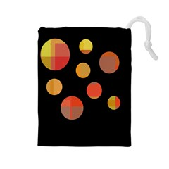 Orange abstraction Drawstring Pouches (Large)