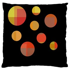 Orange abstraction Large Flano Cushion Case (Two Sides)