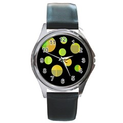 Green abstract circles Round Metal Watch