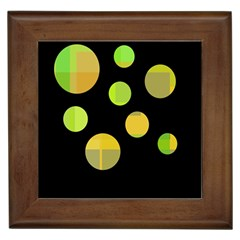 Green abstract circles Framed Tiles