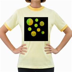 Green abstract circles Women s Fitted Ringer T-Shirts