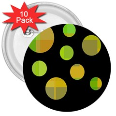 Green abstract circles 3  Buttons (10 pack)