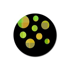 Green abstract circles Rubber Round Coaster (4 pack)