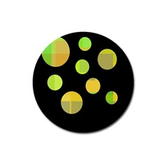 Green abstract circles Magnet 3  (Round)
