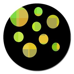 Green abstract circles Magnet 5  (Round)