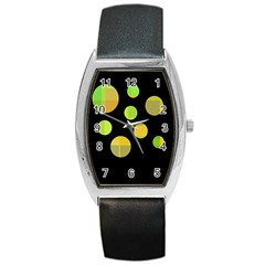 Green abstract circles Barrel Style Metal Watch