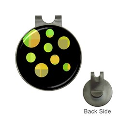 Green abstract circles Hat Clips with Golf Markers