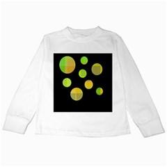 Green abstract circles Kids Long Sleeve T-Shirts