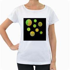 Green abstract circles Women s Loose-Fit T-Shirt (White)