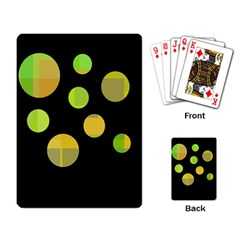 Green abstract circles Playing Card