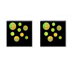 Green abstract circles Cufflinks (Square)
