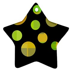 Green abstract circles Star Ornament (Two Sides)