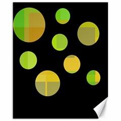 Green abstract circles Canvas 16  x 20