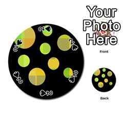 Green abstract circles Playing Cards 54 (Round)