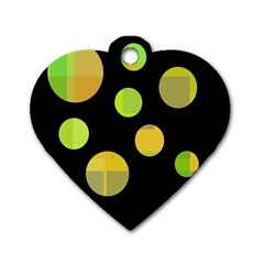 Green abstract circles Dog Tag Heart (One Side)