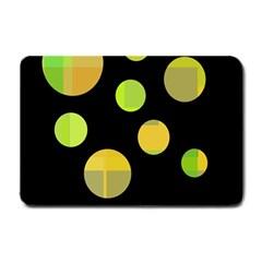 Green abstract circles Small Doormat