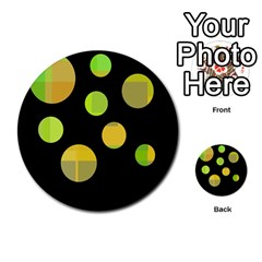 Green abstract circles Multi-purpose Cards (Round)