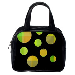 Green abstract circles Classic Handbags (One Side)
