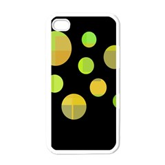 Green abstract circles Apple iPhone 4 Case (White)