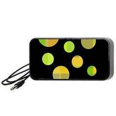 Green abstract circles Portable Speaker (Black)