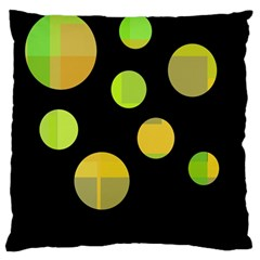Green abstract circles Large Cushion Case (One Side)