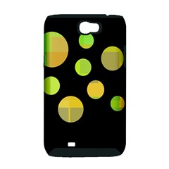 Green abstract circles Samsung Galaxy Note 2 Hardshell Case (PC+Silicone)