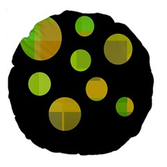 Green abstract circles Large 18  Premium Round Cushions