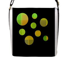 Green abstract circles Flap Messenger Bag (L)