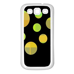 Green abstract circles Samsung Galaxy S3 Back Case (White)