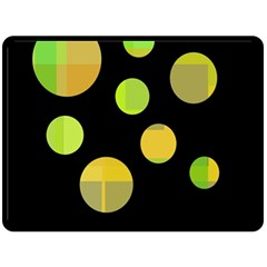 Green abstract circles Double Sided Fleece Blanket (Large)